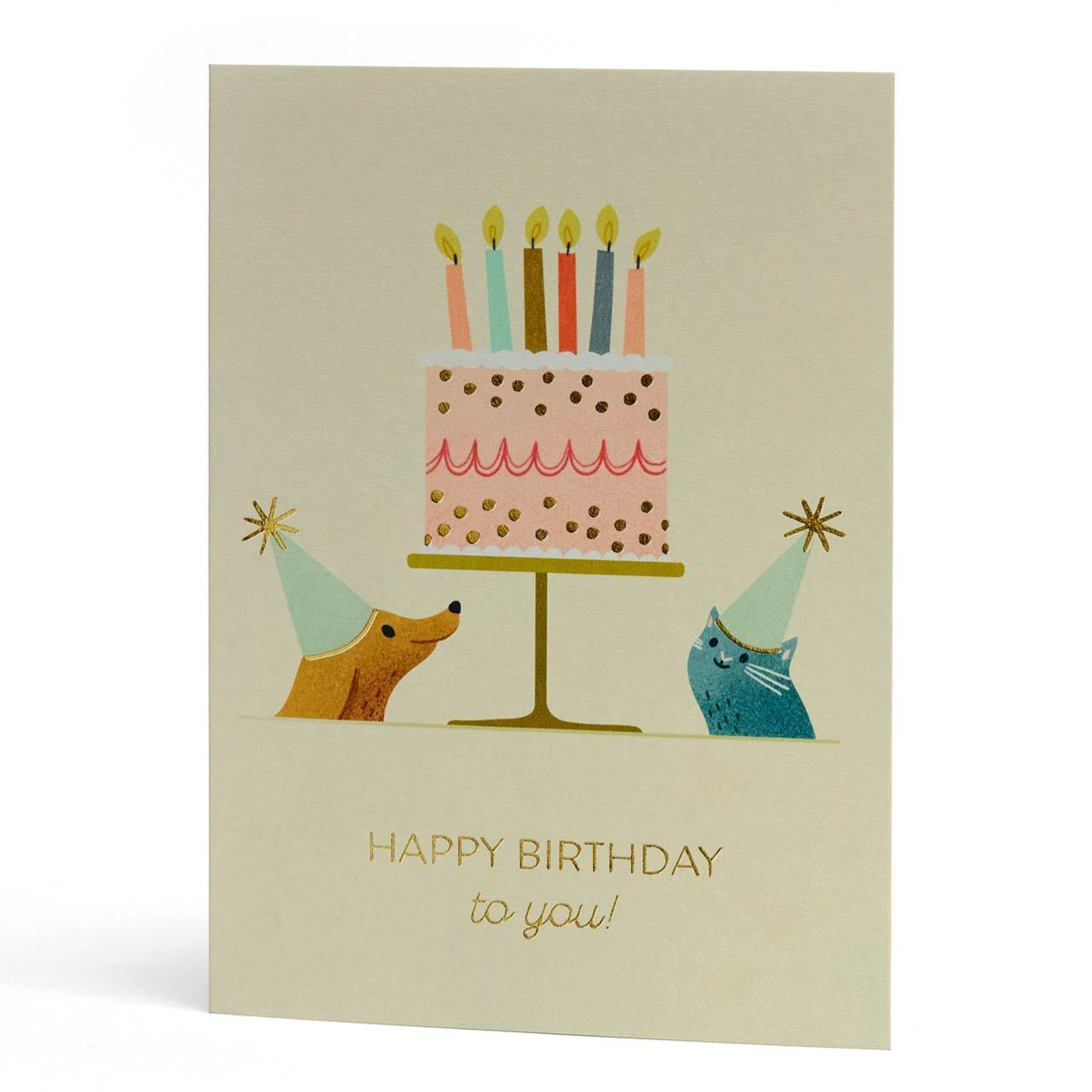 Party Dog and Cat Gold Foil Birthday Greeting Card