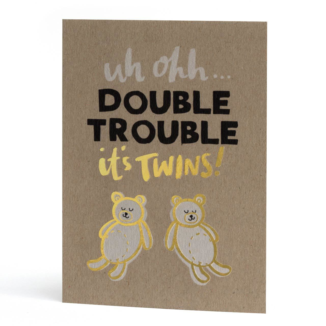Double Trouble Twins Gold Foil Greeting Card