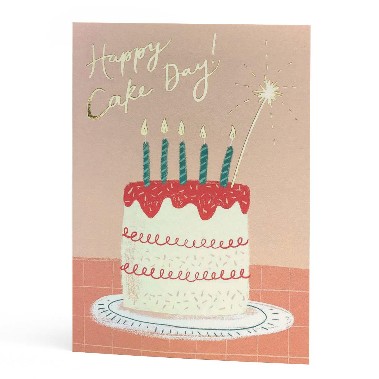 Happy Cake Day Gold Foil Birthday Card