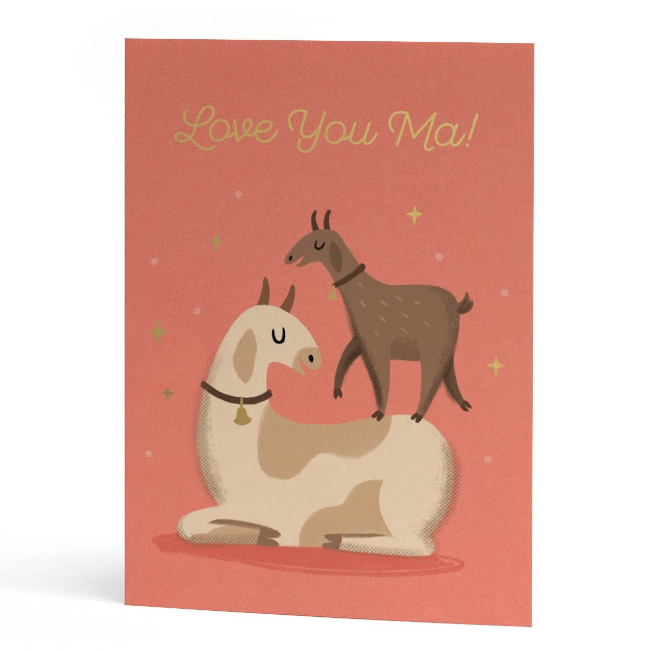 Love You Ma Gold Foil Greeting Card