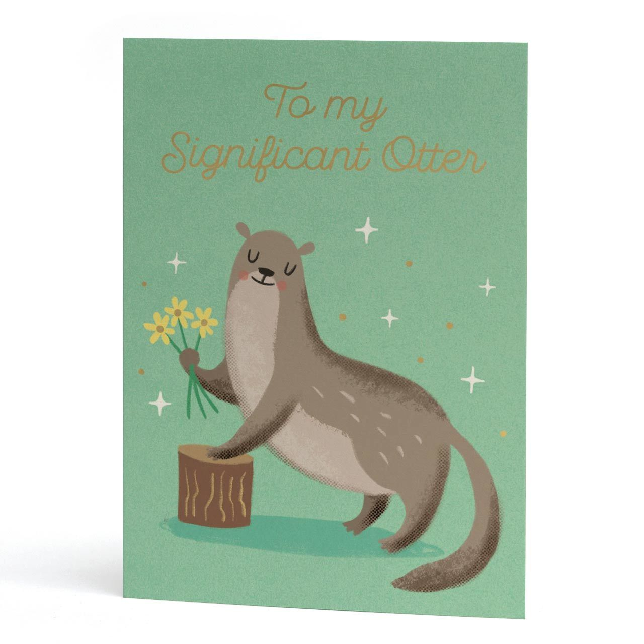My Significant Otter Gold Foil Greeting Card