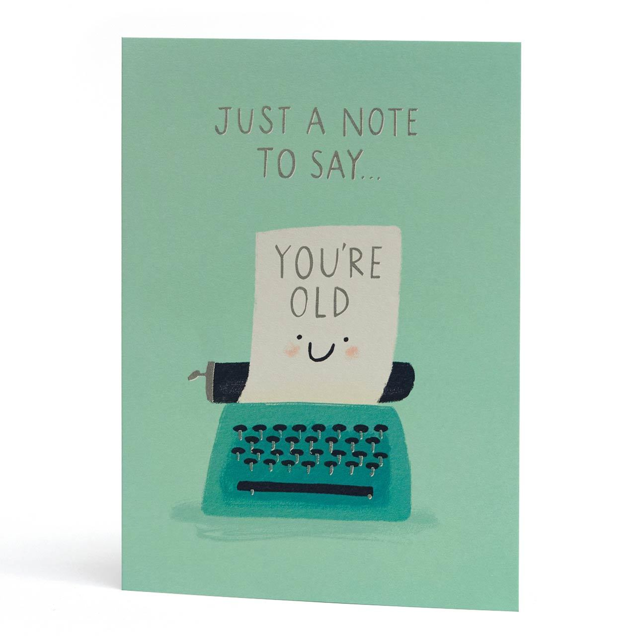 Old Typewriter Silver Foil Birthday Greeting Card