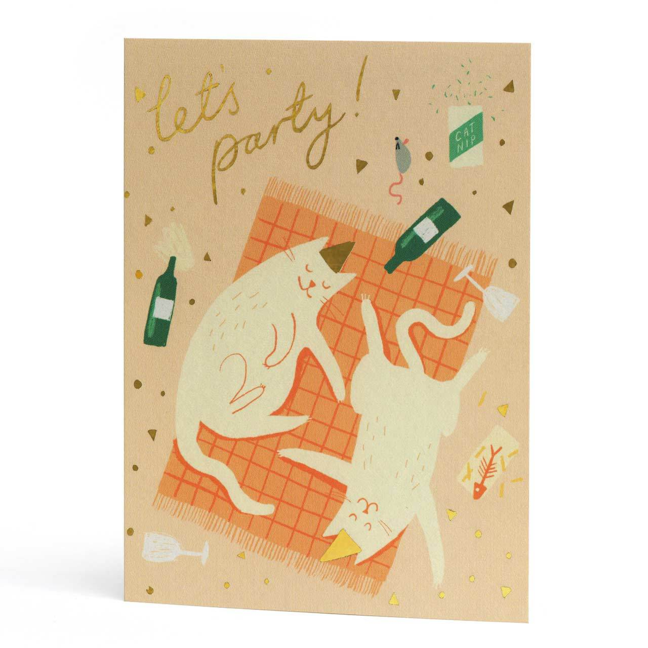 Party Cats Gold Foil Greeting Card