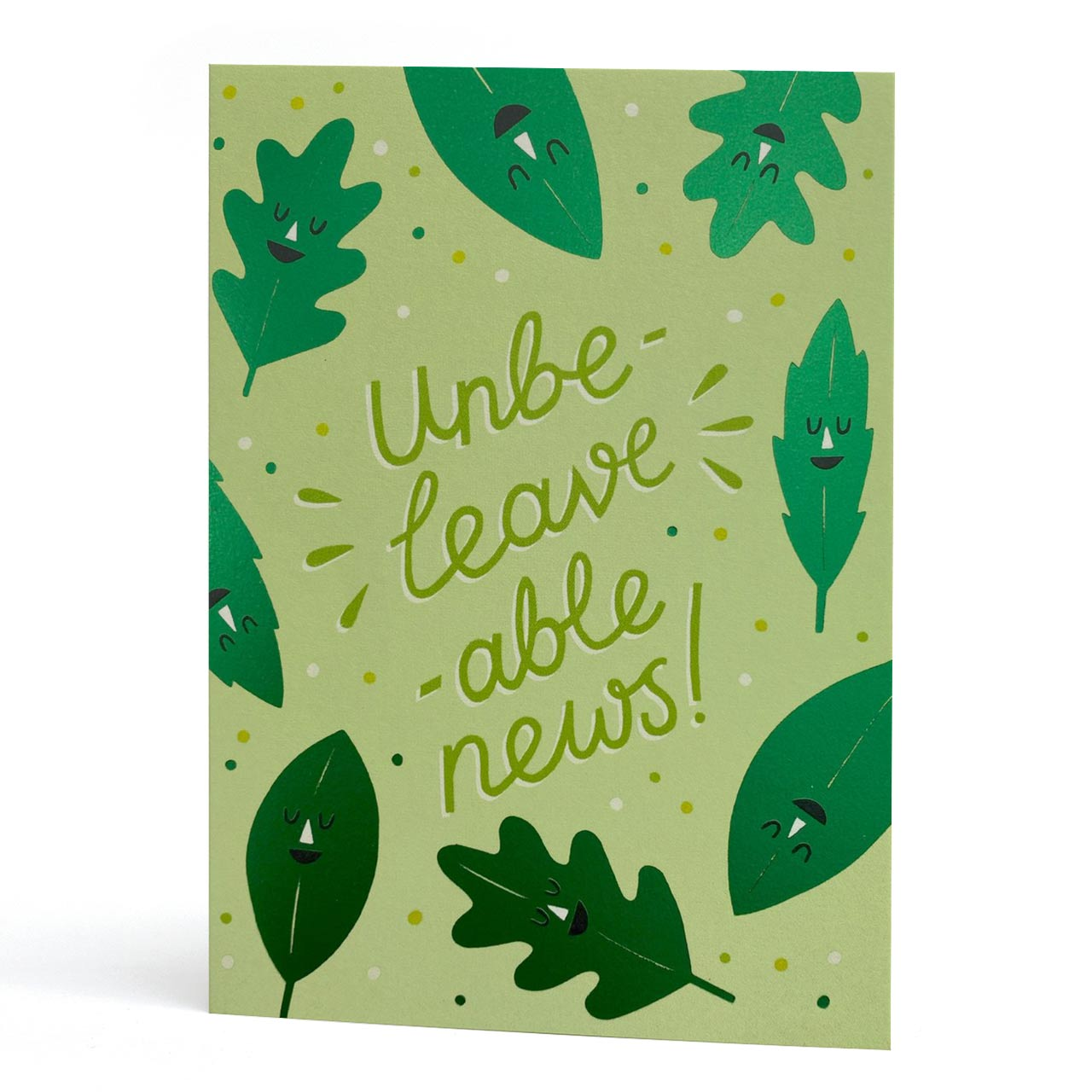 Unbe-leave-able News Green Foil Greeting Card