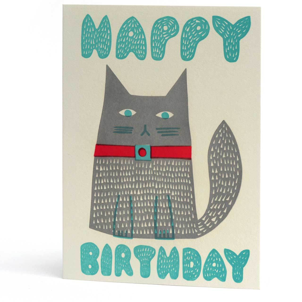 Cat Happy Birthday Letterpress Greeting Card
