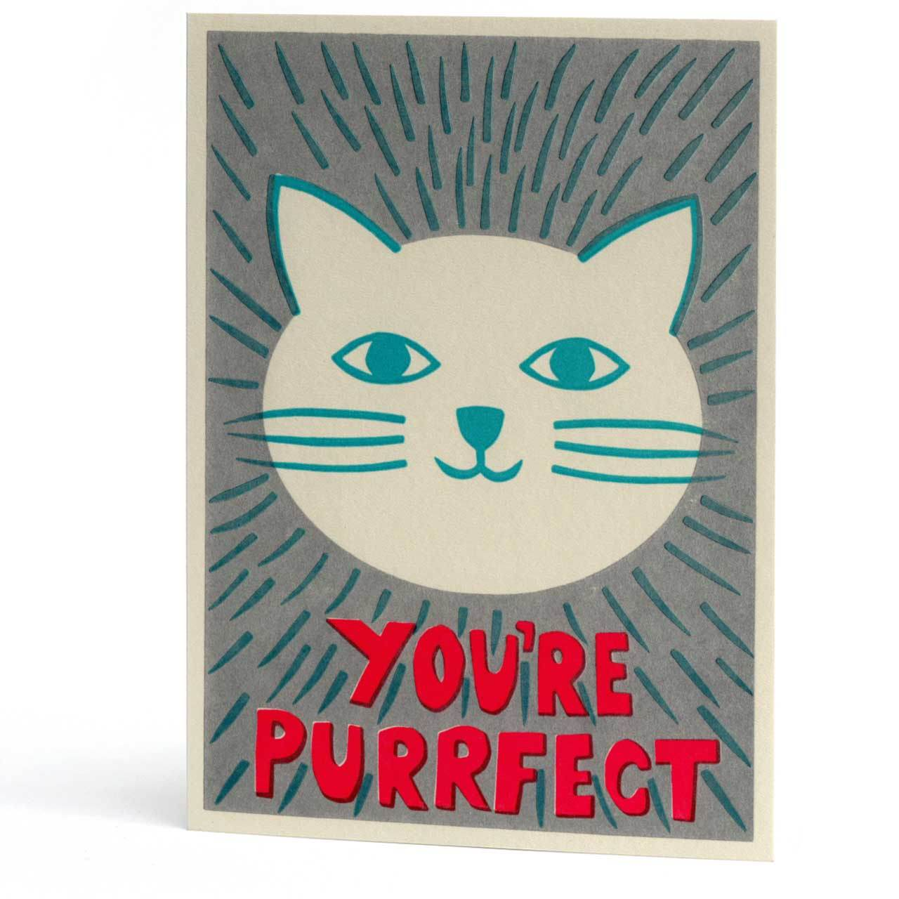 You're Purrfect Letterpress Greeting Card