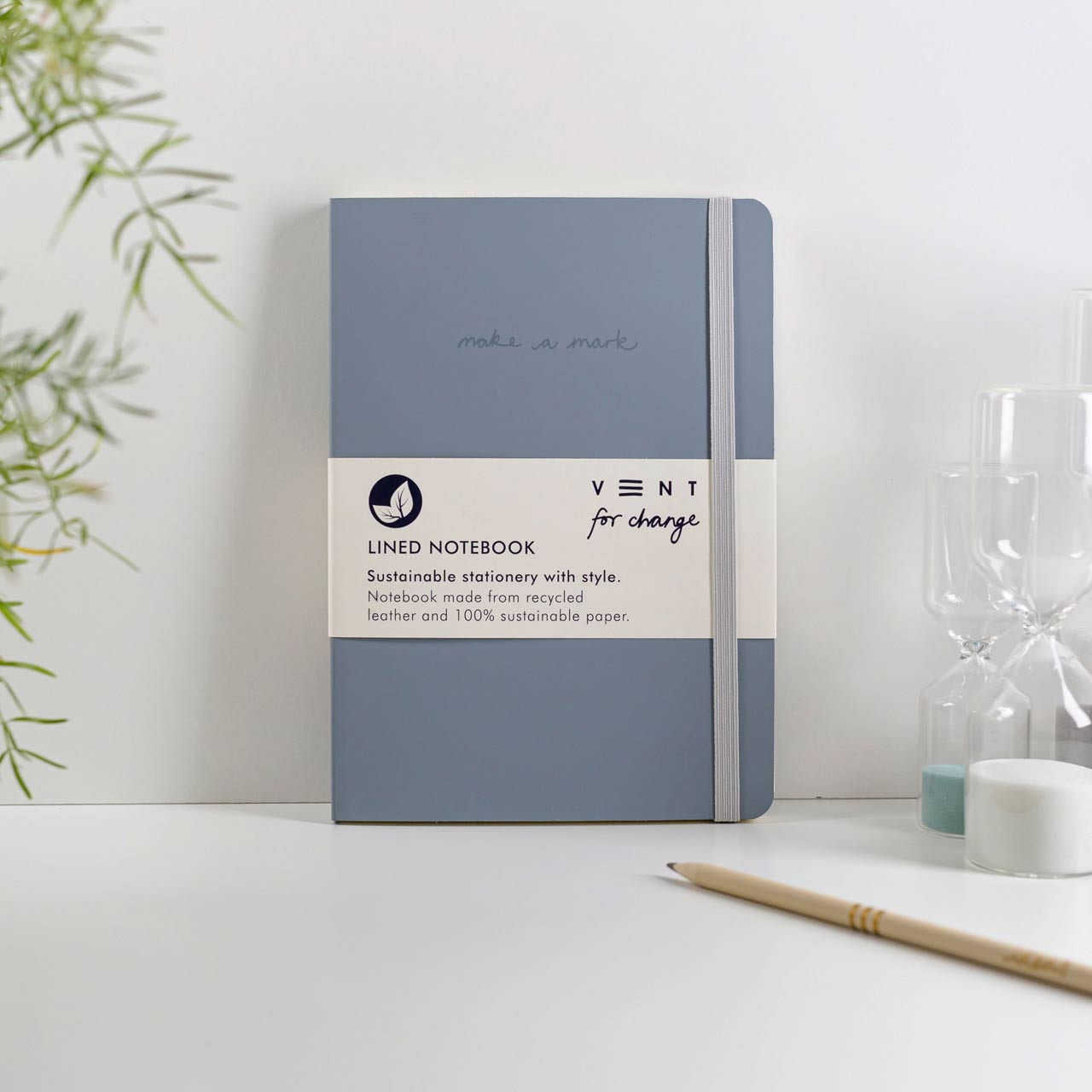 Dusty Blue Recycled Leather A5 Lined Notebook