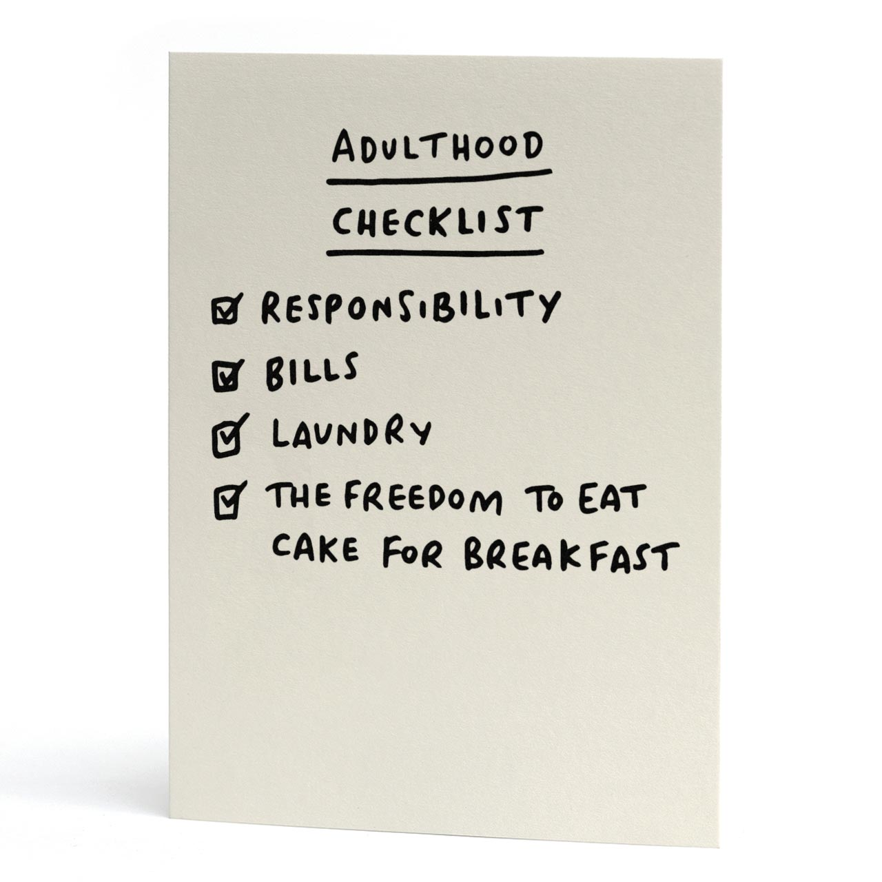 Adulthood Checklist Greeting Card