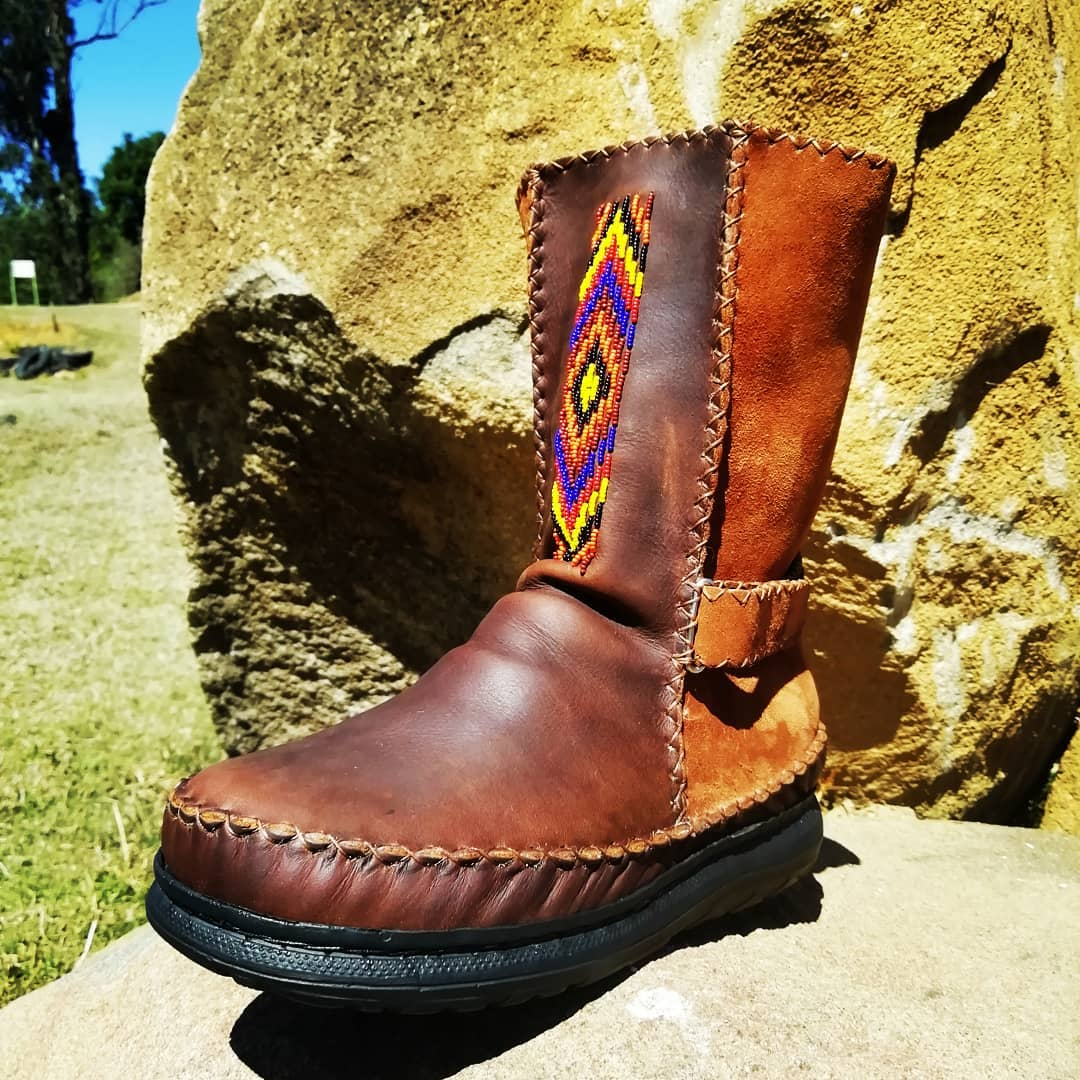 Custom Pull On Leather Boots with Velcro Straps