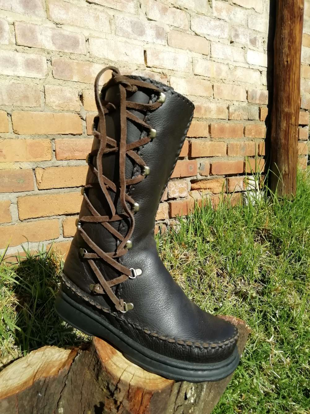 High Leather Boots with Side Laces (UK 5)
