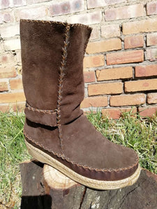 Pull On Leather Boots with Velcro Straps (UK 6)