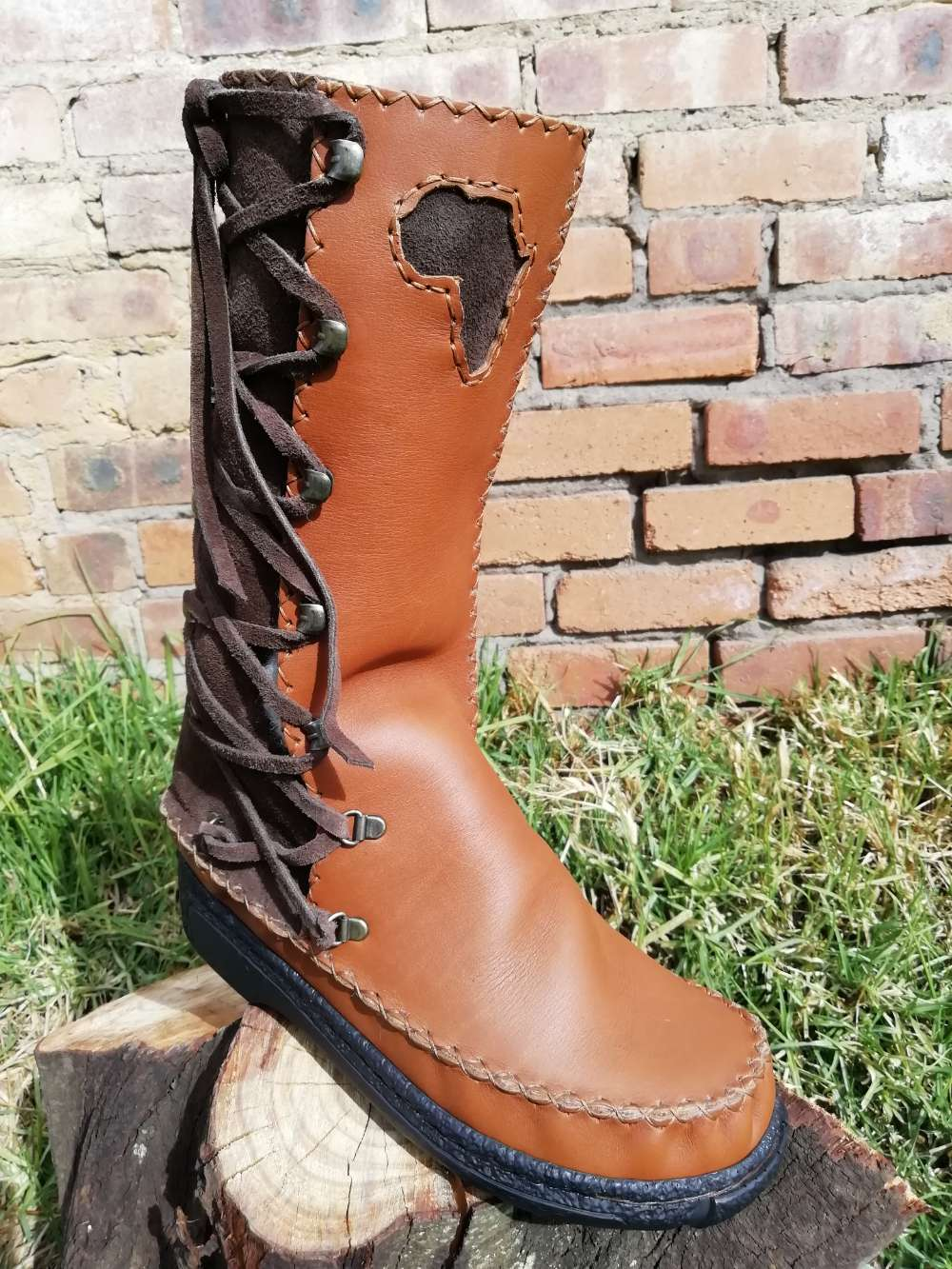 High Leather Boots with Side Laces (UK 8)