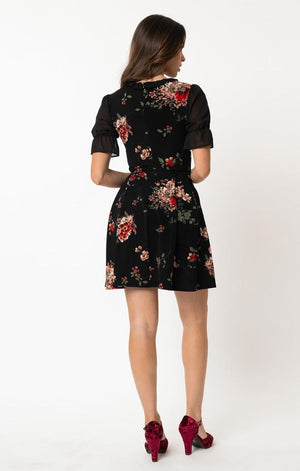 Riot Black & Red Floral Fit & Flare Dress by Smak Parlour