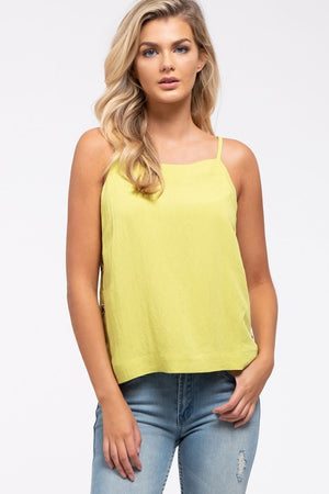 It's Going Button-Down Lime Green Top with Button Up Sides