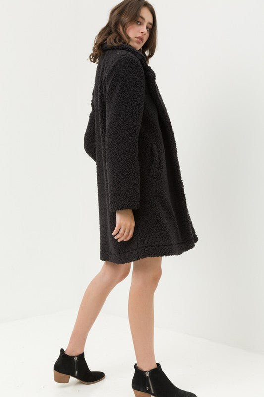 Teddy or Not Black Faux Fur Coat