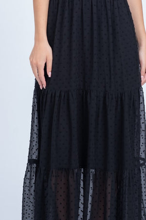 All You've Dot Black High Neck Tiered Maxi Dress