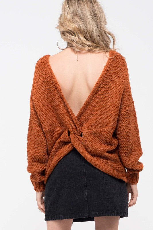 Back To You Rust Open Twist Back Sweater