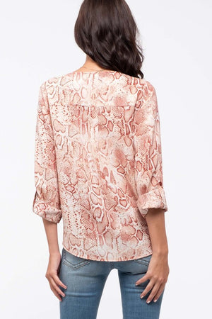 Snake It Work Pink Snakeskin Quarter Sleeve Top with Tie Front