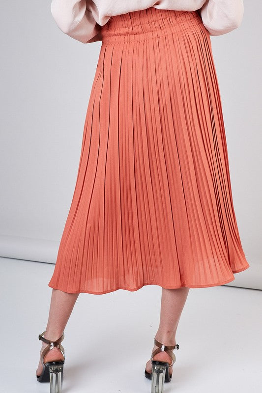 Peach Pleated Midi Skirt with Rouched Top