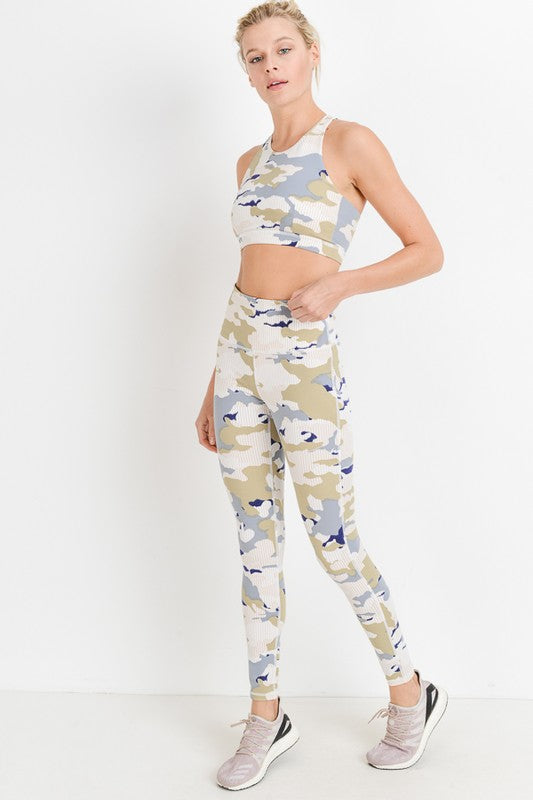 Pastel Striped Camo Print High Waisted Leggings