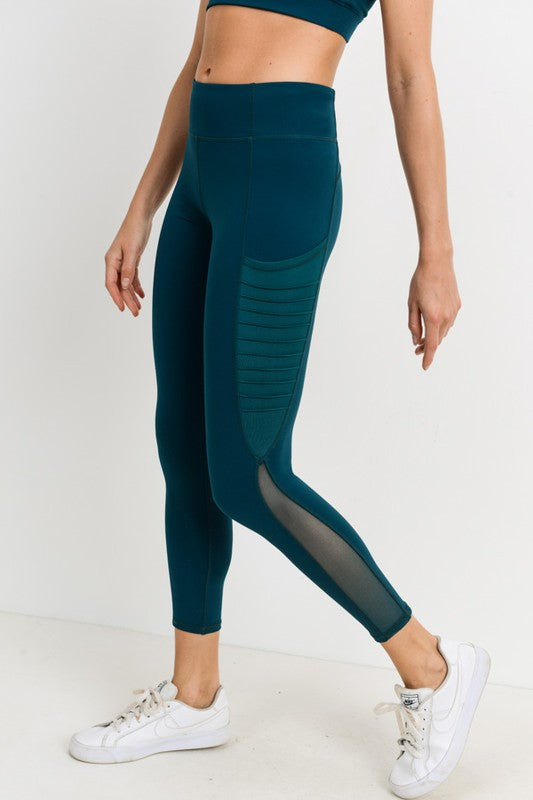 Dark Teal Moto Ribbed High Waisted Leggings
