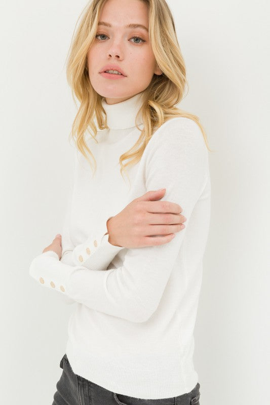 All Set Turtleneck White Sweater