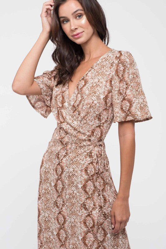 Pretty in Pink & Taupe Snakeskin Wrap Midi Dress