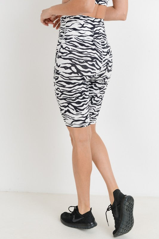 Zebra High Waisted Biker Shorts