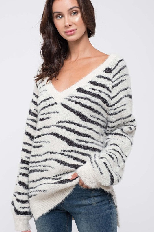 Earn Your Stripes Zebra Mohair V Neck Sweater