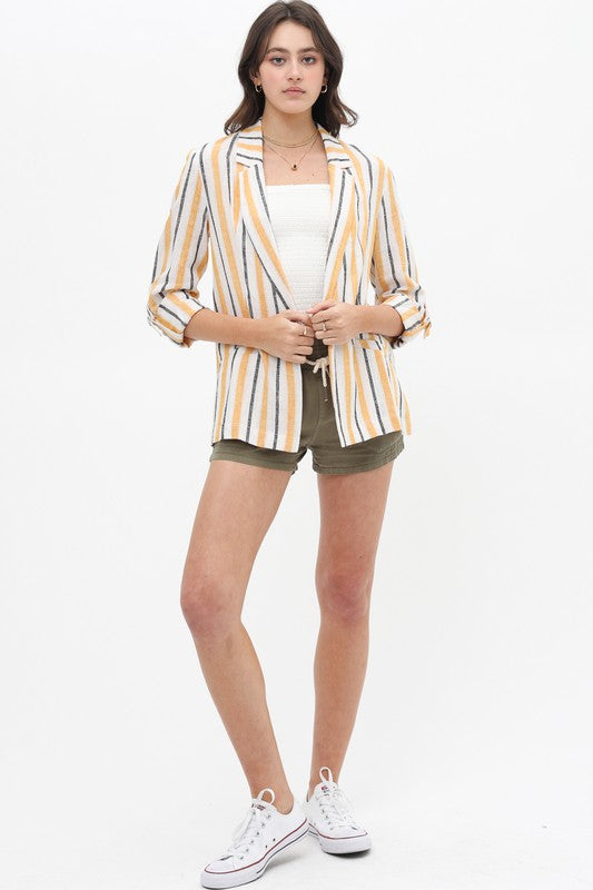 It Feels Stripe Yellow & Grey Stripe Linen Blazer