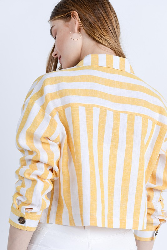 Walk The Line Yellow & White Striped Crop Top with Buttons