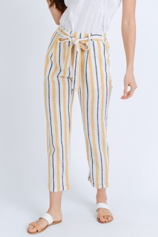 It Feels Stripe Yellow & Grey Stripe Linen Pants with Tie Waist