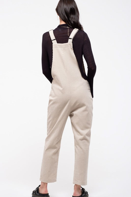Corduroy Calm & Collected Cream Overalls