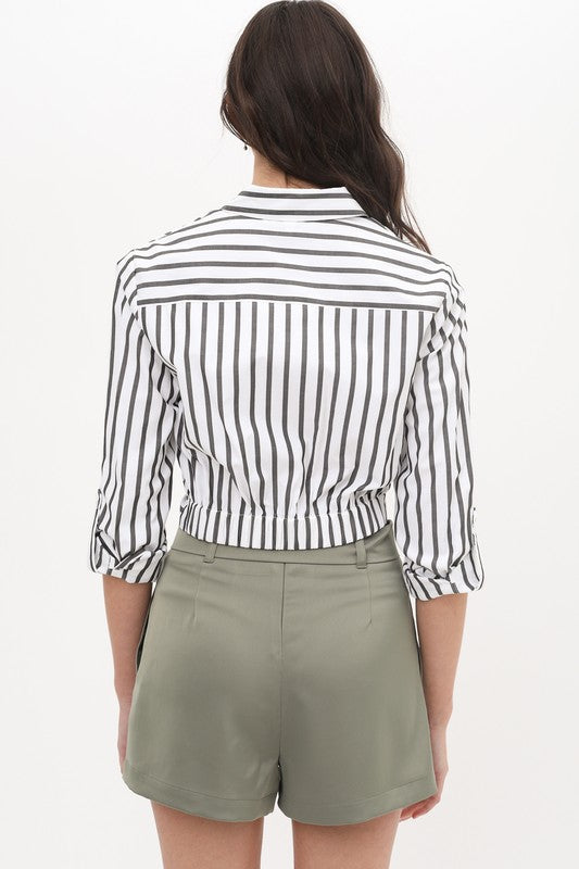 Unfinished Business Grey & White Stripe Twist Front Crop Top
