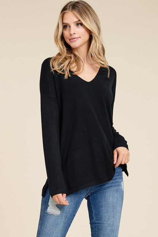 Simple as That Black V Neck Sweater with Side Slits