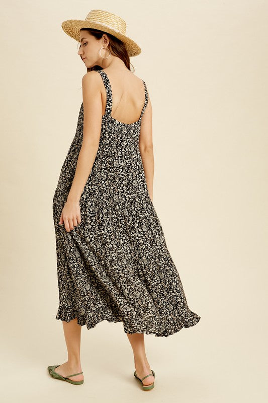 Got It Growing On Black Floral Flowy Midi Dress