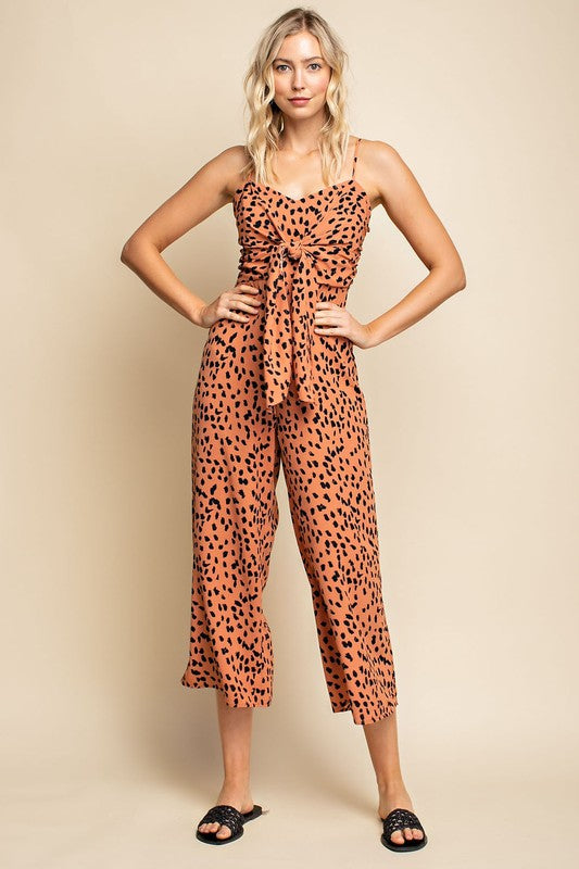 Clay Spotted Print Tie Jumpsuit