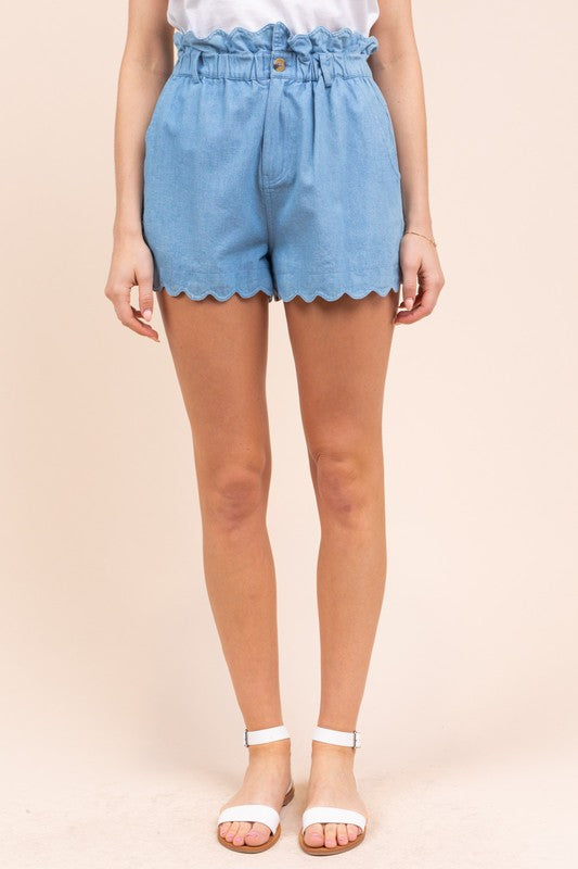 Light Denim Paper Bag Shorts with Scalloped Hem