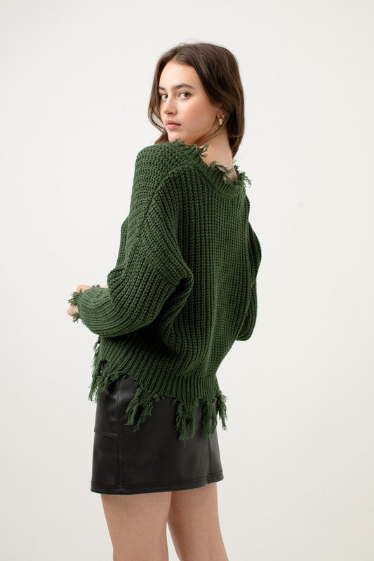 Distressed & Well Dressed Green V Neck Sweater