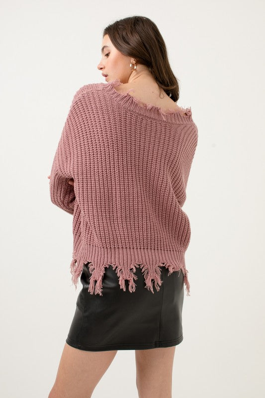 Distressed & Well Dressed Mauve V Neck Sweater