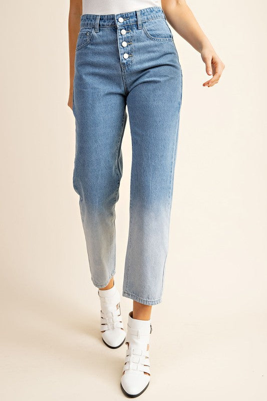 Not Your Mom's Ombre High Waisted Denim Jeans