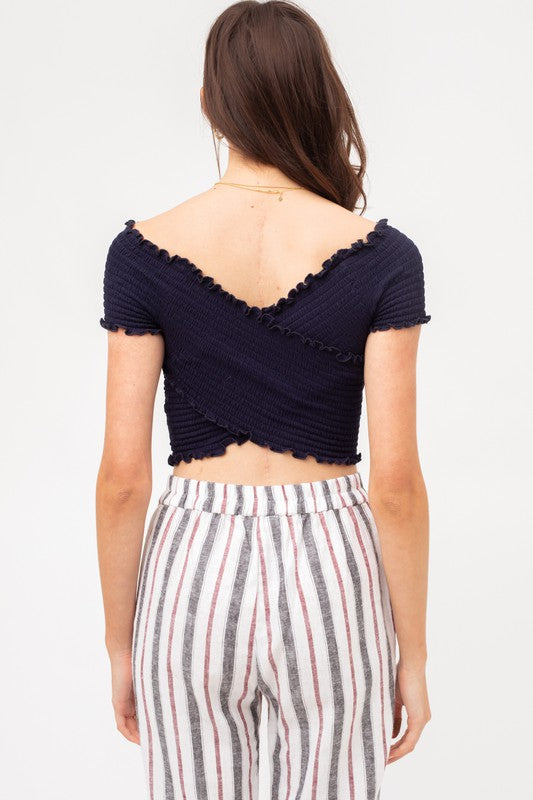 You Give Me A Ruche Navy Criss-Cross Ruched Crop Top