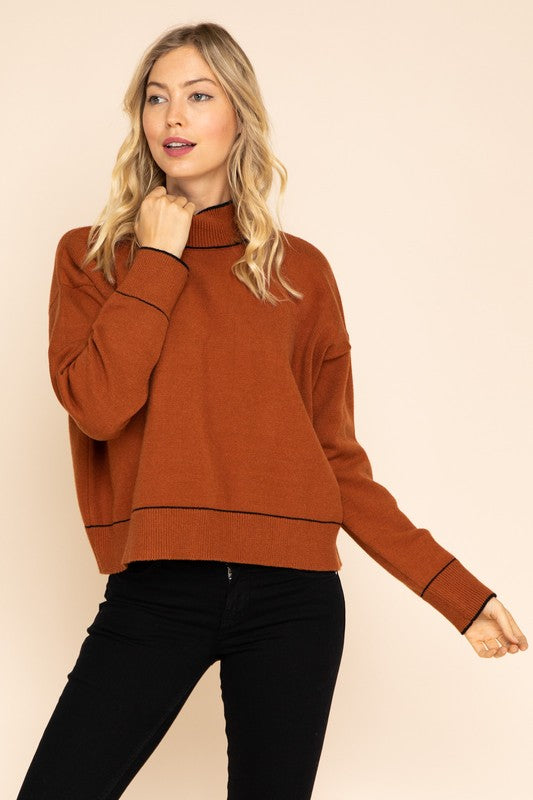 Rust Turtleneck Sweater with Seam Detailing