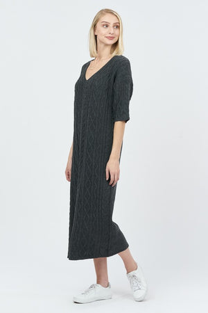 Getting Warmer Grey Cable Knit Short Sleeve Sweater Dress
