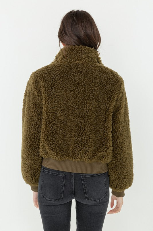Olive Green Teddy Bomber Jacket