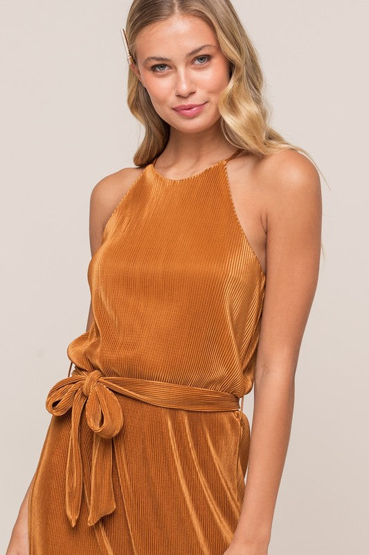 Bronzed Babe High Neck Plisse Tie Waist Maxi Dress