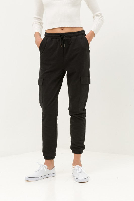 On The Run Black Cargo Joggers