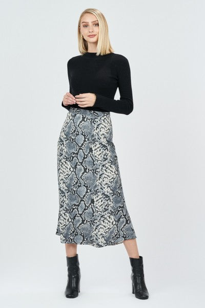 Black & White Snakeskin Midi Skirt