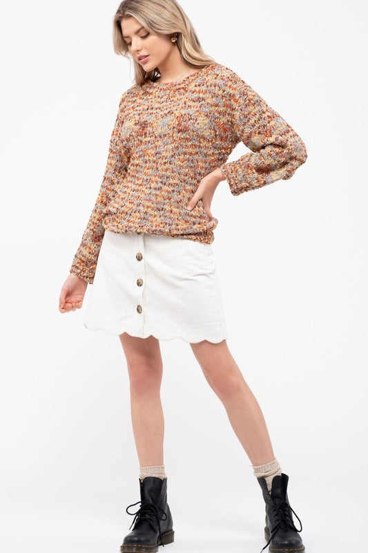 Dash of Cinnamon Multicolor Popcorn Knit Sweater