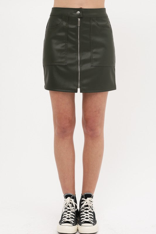 Green with Envy Olive Green Faux Leather Zip Up Mini Skirt